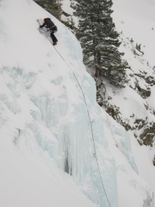 3 Climbing short pitch of ice